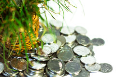 Silver coins,finance. Silver coins are scattered around the basket with royalty free stock photo