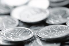 Silver coins macro Stock Photography