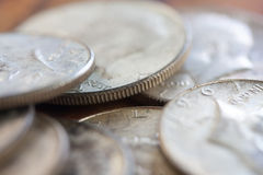 Silver Coins Macro Royalty Free Stock Images