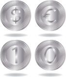 Silver coins set. Various variants of design. Isolated on a white background. Vector will be additional Stock Photos