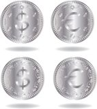 Silver coins set Royalty Free Stock Image