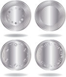 Silver coins set. Various variants of design. Isolated on a white background. Vector illustration (EPS8). All parts (object) closed, possibility to edit Stock Photo