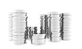 Silver coins stacked Stock Images