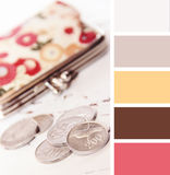 Silver coins and wallet on a white background wooden.  color palette swatches, pastel hues Stock Photo