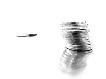 Silver Coins on White Royalty Free Stock Photos