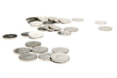 Silver coins on white background Royalty Free Stock Photography