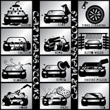 Silver color carwash icons. Black car wash icon in silver square Stock Image