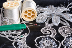Silver color Embroidery Royalty Free Stock Images