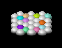Silver and color half-spheres Stock Photos