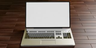 Laptop with white screen on wooden floor. 3d illustration. Silver color laptop in the center with white, bright screen. Wooden floor and shadows. 3d illustration royalty free illustration