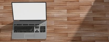 Laptop on wooden floor with white screen. 3d illustration. Silver color laptop on the left side with white, bright screen. Wooden floor and shadows. 3d stock illustration