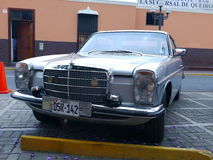 Silver color Mercedes-Benz 280C coupe in Lima Stock Image