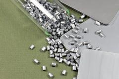 Silver color polymer resin Stock Photos