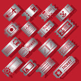 Silver color ticket icons on red background Royalty Free Stock Photography
