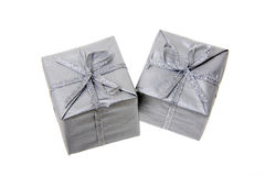 Silver-colored Christmas parcels, elevated view Stock Image
