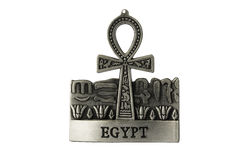 Silver colored Egyptian symbol of life Ankh with Egypt label iso. Lated on white background Stock Photos