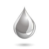 Silver colored liquid drop icon with a shadow Stock Photo