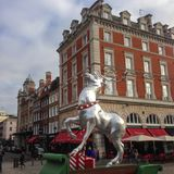 Silver colored reindeer in front of Covent Garden. London, United Kingdom – December 4, 2015: Silver colored reindeer in front of Covent Garden Market royalty free stock photography