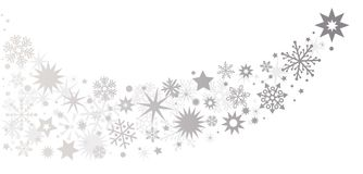 Silver-colored stars -tail of a comet. Set of silver glowing sparkling stars. Holiday party decor. Silver flying stars confetti christmas Royalty Free Stock Image
