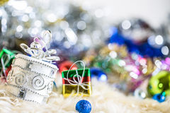 Silver colorful gift and blue green red gold ball decoration on chrismas. Colorful gift and blue green red gold ball decoration on chrismas Royalty Free Stock Images