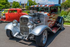 Silver and colorful hot rod car