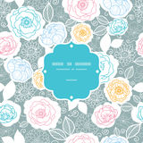 Silver and colors florals frame seamless pattern Royalty Free Stock Photo