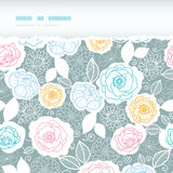 Silver and colors florals horizontal torn seamless Stock Photos