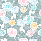 Silver and colors florals seamless pattern Royalty Free Stock Photos