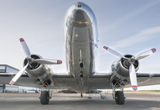 SIlver coloured plane with Norway flags Stock Photography