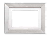 Silver coloured textured picture frame isolated on white. Simple modern frame, rectangular shape Royalty Free Stock Photo