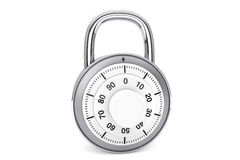 Silver combination padlock Royalty Free Stock Photography
