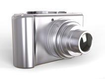Silver compact digital photo camera Royalty Free Stock Photo