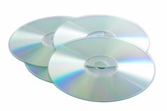 Silver Compact Discs. Isolated on a white background Stock Photography