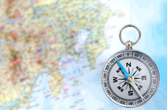 Silver Compass and Map Royalty Free Stock Photo