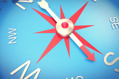 Silver compass with windrose, emblem of compass close-up, with DOF effect. 3d rendering Royalty Free Stock Photography