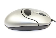 Silver Computer Mouse Isolated Royalty Free Stock Photo