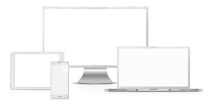 Silver computing devices Stock Images