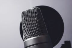 Silver Condenser Microphone Stock Images