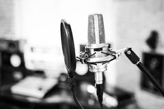Condenser microphone with pop filter stock photography