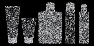 Silver confetti tubes. Isolated on black background. Vector. Silver confetti tubes. Isolated on black background Stock Photo