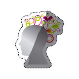Silver contour human with figures icon. Illustraction design Stock Image