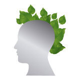 Silver contour human with leaves icon. Illustraction design Royalty Free Stock Images