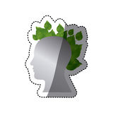 Silver contour human with leaves icon. Illustraction design Royalty Free Stock Photography
