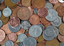 Silver and copper coin background. Stock Images