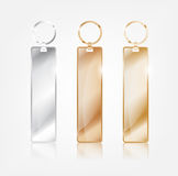 Silver , Copper and Gold keychain template vector. Silver , Copper and Gold rectangle keychain template vector Royalty Free Stock Image