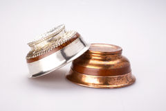 Silver and copper tea cups Stock Image