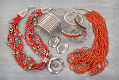 Silver and Coral Native American Jewelry. Royalty Free Stock Photos