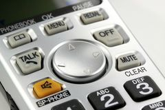 Silver cordless phone keypad closeup Royalty Free Stock Images