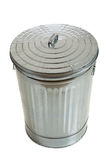 Silver corrugated trash can on white. Trash can with lid on white Stock Photos