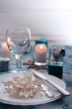 Silver and cream Christmas Table Setting with christmas decorations Stock Photography